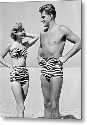 Couple In Matching Attire Metal Print by Underwood Archives