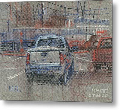 Metal Print featuring the painting Couple Of Chevys by Donald Maier