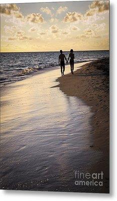 Couple Walking On A Beach Metal Print