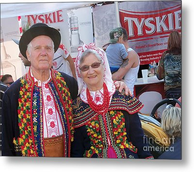 Couples In Polish National Costumes Metal Print by Lingfai Leung
