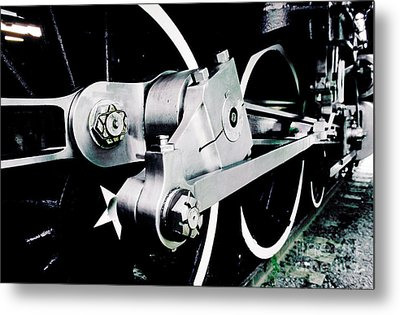 Coupling Rods And Driver Wheels For A Steam Locomotive Metal Print by Wernher Krutein
