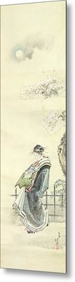 Courtesan Out For A Walk Metal Print by Katsushika Hokusai