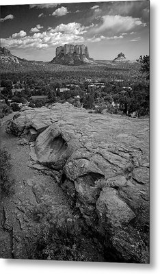 Metal Print featuring the photograph Courthouse Butte In Sedona Bw by Dave Garner