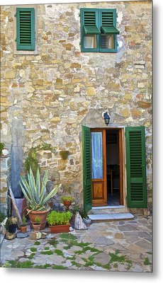 Courtyard Of Tuscany Metal Print by David Letts