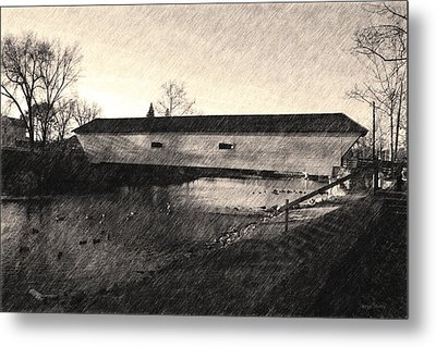 Metal Print featuring the photograph Covered Bridge Elizabethton Tennessee C. 1882 Sepia by Denise Beverly