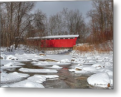 covered bridge Everett rd. Metal Print by Daniel Behm