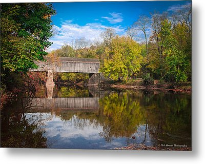 Metal Print featuring the photograph Covered Bridge In Autumn by Phil Abrams