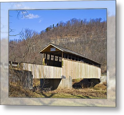 Covered Bridge In Pa. Metal Print by Walter Herrit