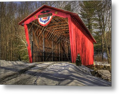 Covered Bridge In Snow Metal Print by Patti Burnett