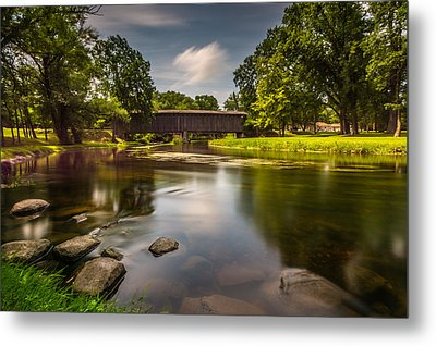 Covered Bridge Long Exposure Metal Print