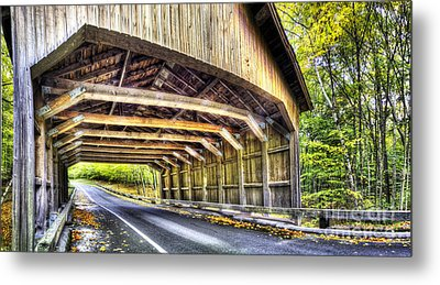 Covered Bridge On Pierce Stocking Scenic Drive Metal Print by Twenty Two North Photography