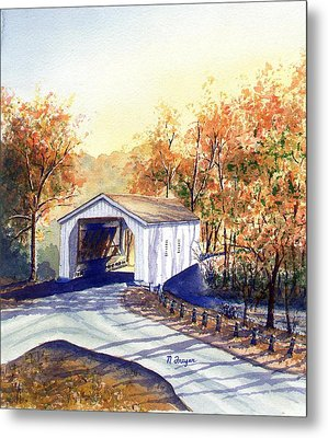 Covered Bridge On The Lochatong Metal Print