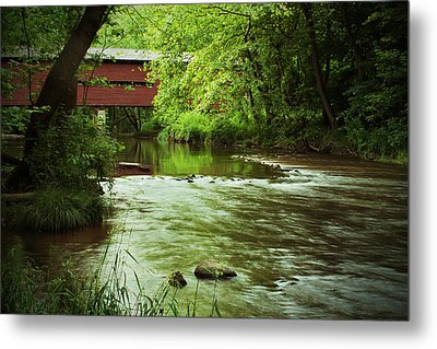 Covered Bridge Over French Creek Metal Print