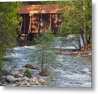 Metal Print featuring the photograph Covered Bridge Over The River by Debby Pueschel