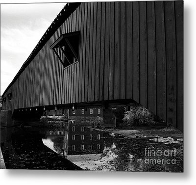 Covered Bridge Reflections Bw Metal Print