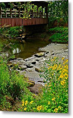 Covered Bridge Metal Print by Frozen in Time Fine Art Photography