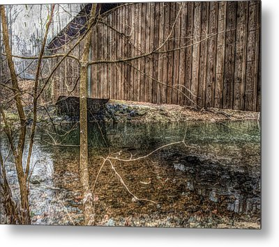 Covered Bridge Snowy Day Metal Print by Susan Maxwell Schmidt