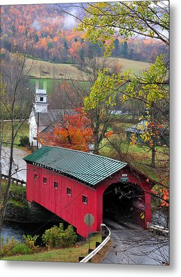 Covered Bridge-west Arlington Vermont Metal Print by Thomas Schoeller