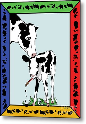 Cow Artist Cow Art II Metal Print by Audra D Lemke