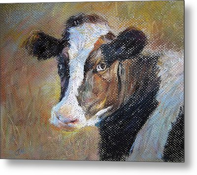 Metal Print featuring the painting cow by Jieming Wang