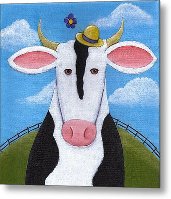 Cow Nursery Wall Art Metal Print by Christy Beckwith