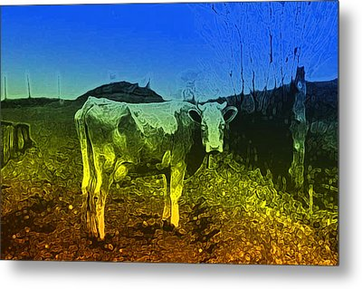Metal Print featuring the digital art Cow On Lsd by Cathy Anderson