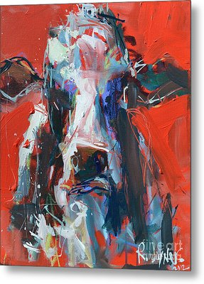 Cow On Red Metal Print