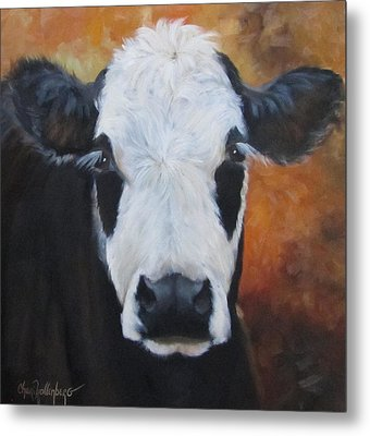 Metal Print featuring the painting Cow Painting - Tess by Cheri Wollenberg