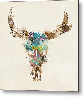 Cow Skull Metal Print by Bri B