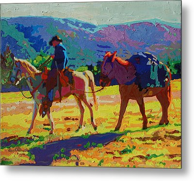 Cowboy And Pack Mule 2 Metal Print by Thomas Bertram POOLE