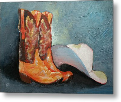 Cowboy Boots And Hat Metal Print