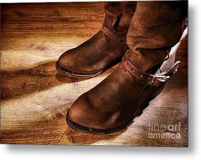 Cowboy Boots On Saloon Floor Metal Print by Olivier Le Queinec