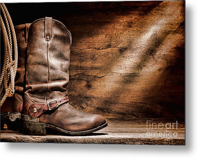 Cowboy Boots On Wood Floor Metal Print by Olivier Le Queinec