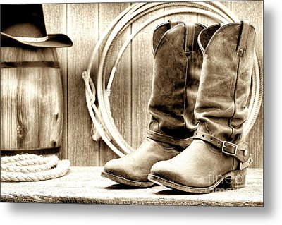 Cowboy Boots Outside Saloon Metal Print by Olivier Le Queinec
