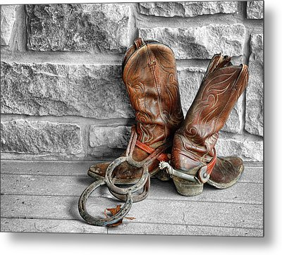 Cowboy Boots Metal Print by Sami Martin
