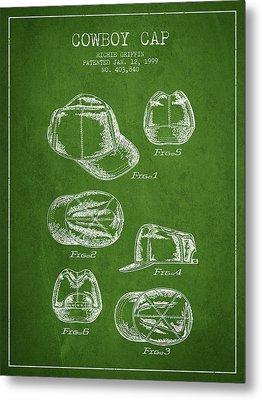 Cowboy Cap Patent - Green Metal Print by Aged Pixel