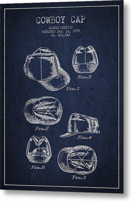 Cowboy Cap Patent - Navy Blue Metal Print by Aged Pixel