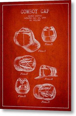 Cowboy Cap Patent - Red Metal Print by Aged Pixel