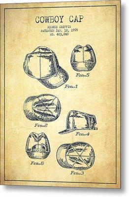 Cowboy Cap Patent - Vintage Metal Print by Aged Pixel
