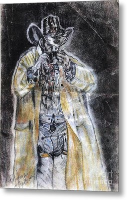 Cowboy Drinking Coffee Metal Print