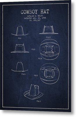 Cowboy Hat Patent From 1985 - Navy Blue Metal Print