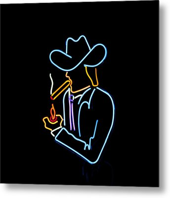 Cowboy In Neon Metal Print by Art Block Collections