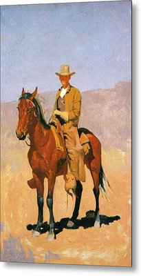 Cowboy Mounted On A Horse Metal Print by Frederic Remington