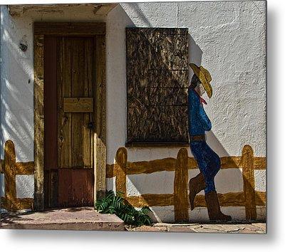 Cowboy Mural In Benson Arizona Usa Metal Print by Dave Dilli