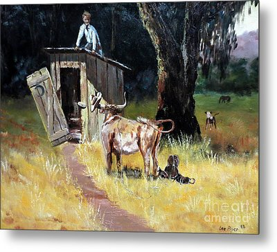 Cowboy On The Outhouse  Metal Print by Lee Piper