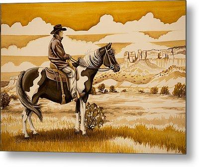 Cowboy On The Range Metal Print by Tish Wynne