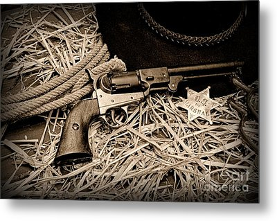 Cowboy - Ready To Ride - Black And White Metal Print by Paul Ward