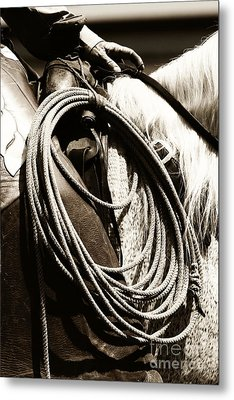 Metal Print featuring the photograph Cowboy Rides To Work by Lincoln Rogers