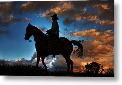 Metal Print featuring the photograph Cowboy Silhouette by Ken Smith