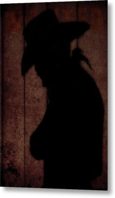 Cowboy Silhouette Profile  Metal Print by Tommytechno Sweden